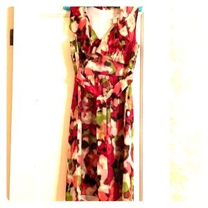 Loft size 4 floral watercolor pattern dress
